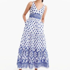 J.Crew V-neck Santorini Blue print Maxi Dress